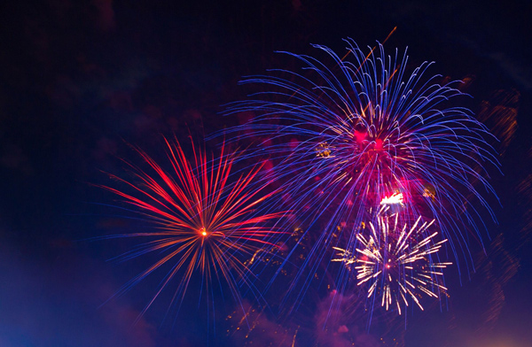 Fireworks in the night sky, fourth of July safety tips